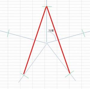 分度器で五角形を書く方法