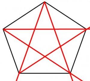 定規だけで作る五角形の書き方10