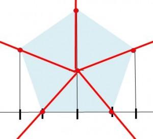 定規だけで作る五角形の書き方5