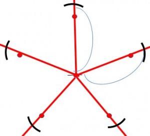定規だけで作る五角形の書き方7