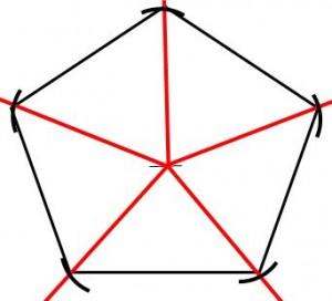 定規だけで作る五角形の書き方8