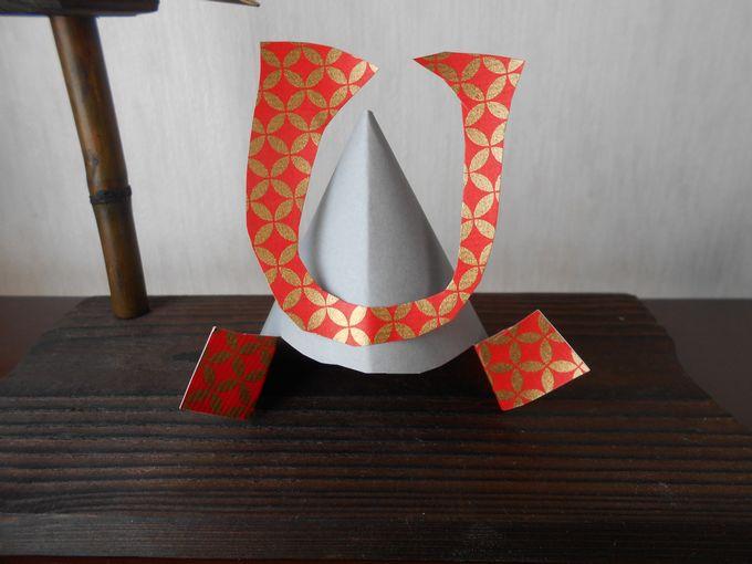 折り紙で立体的な兜